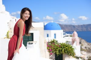 Smiling woman in greek islands