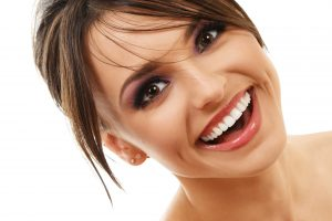 attractive woman smiling happily nice teeth